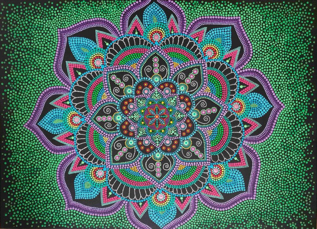 Lila kék és zöld pont Mandala (eladott) - Art & Deco By Natasha