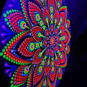 A Touch Of Deep Blue One-Of-A-Kind UV Dot-Painting (30cm Circular)