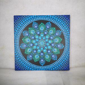 Peinture acrylique par points 'Azul' unique en son genre (toile 20 cm x 20 cm)