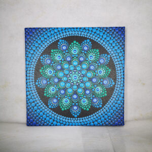 'Azul' enastående akrylfärgmålning (20cm x 20cm duk)