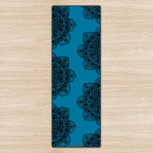 """Black Mandala Mix"" Blue Eco Yoga Mat"