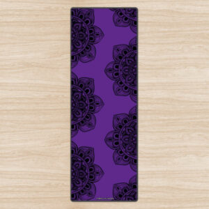 'Black Mandala Mix' Purple Eco Yoga Mat