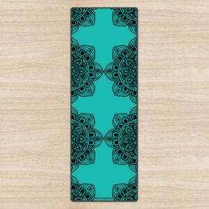 Бирюзовый эко-коврик для йоги 'Black Mandala'