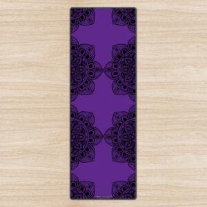 Фиолетовый эко-коврик для йоги Black Mandala