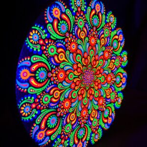 Pintura UV 'The Cartoon Flower' (tela circular de 20 cm)