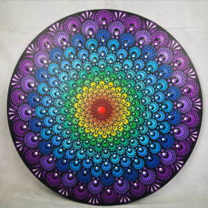 Chakra Flower One-Of-A-Kind Acryl Dot-Painting (40cm rond)