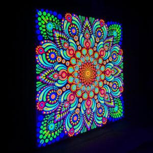 UV-Punktmalerei 'Löwenzahn' (20 cm x 20 cm)