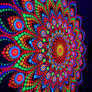 'Flower Power'Einzigartiges UV-Punkt-Gemälde (40 cm runde Leinwand)