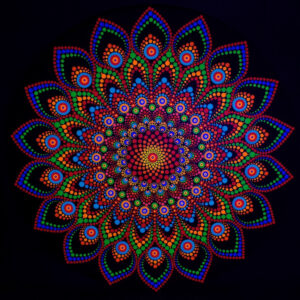 Flower Power One-Of-A-Kind UV-Dot-Painting (40cm rond canvas)