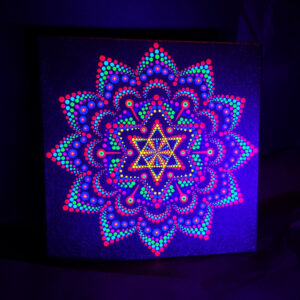 Pintura com pontos UV 'Little Orange Star' (20 cm x 20 cm)