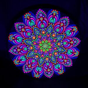 Peinture par points UV 'Peacock Flower' (toile circulaire 30cm)