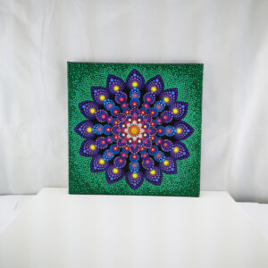 Purple & Green Mandala One-Of-A-Kind Dot-schilderij (40 x 40 cm canvas)