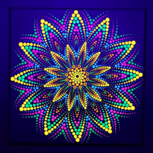 Yellow Firework One-Of-A-Kind UV-Painting (20cm x20cm Canvas)