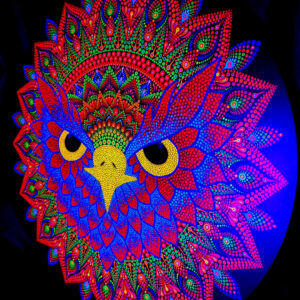 The Majestic Owl One-Of-A-Kind UV Dot-Painting (80cm rond)