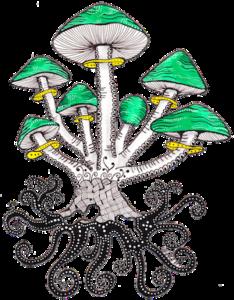 Die kleine Familie der grünen Pilze - ArtDecoByNatasha