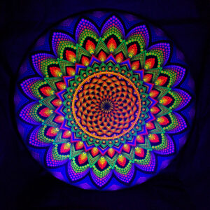 """""""Torus in einer Galaxie"""" Einzigartiges UV-Punkt-Gemälde (80 cm runde Leinwand)"""