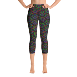 Leggings capri de yoga 'Nigth Flower'