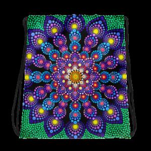 Purple Flower Drawstring bag