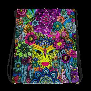 3 Chakra Flower Drawstring bag