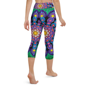 'Purple & Green Flower' Yoga Capri Leggings