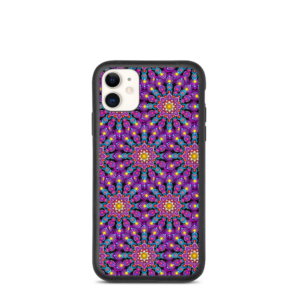 'Purple Dot Mandala Mix' Iphone biodegradagarriaren zorroa