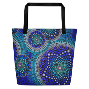 Blue Seeds Of Life Bubbles Large Tote Bag